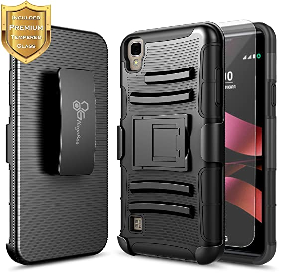 sports shoes 36b25 5641f LG X Power Case, LG XPower Holster Case with Free [Tempered Glass Screen  Protector], NageBee [Heavy Duty] Armor Shock Proof [Belt Clip] Holster ...