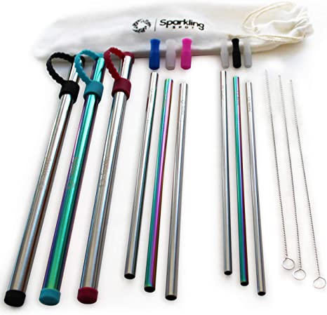 With Brush /& Case Reusable 4x Stainless Steel Straws Eco Friendly