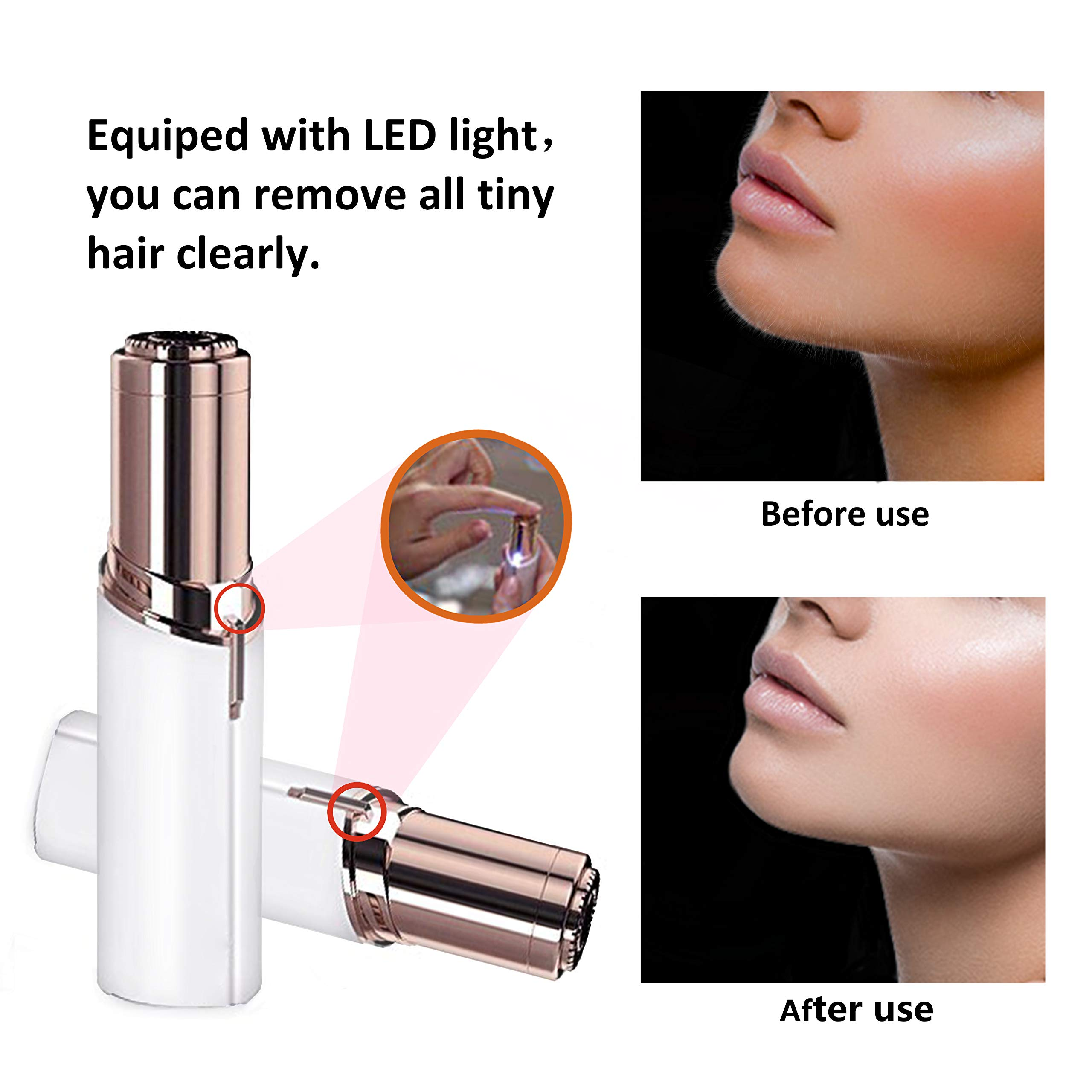Women's Painless Hair Facial Remover, Remove Hairs on the Upper Lip, Chin, Cheeks, Sideburns, Mini Portable Travel Size with LED Light By Verfanny,white by Verfanny (Image #3)