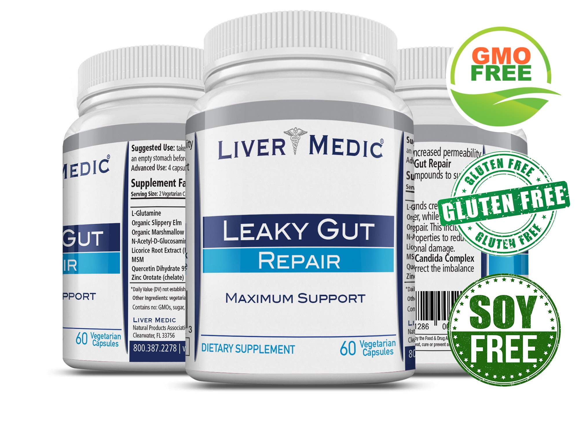Leaky Gut Repair Supplements by Liver Medic | Gut Healing Support. for Relief of Heartburn. Bloating, Gas, Constipation, Diverticulitis, SIBO. Contains L-Glutamine, Slippery Elm, Zinc, NAG by Liver Medic