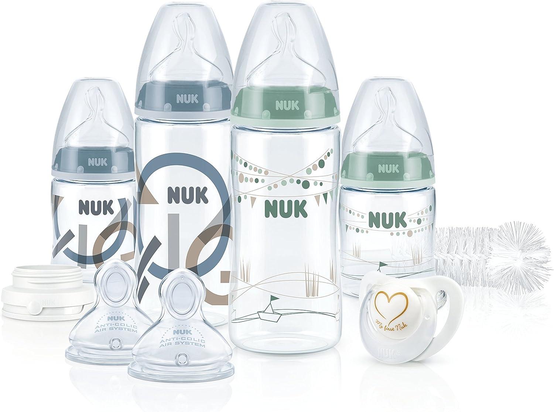 t/étines en silicone sans BPA NUK First Choice+ Starter Set biberon et casier de rangement gar/çon//fille 5/unit/és contr/ôle de la temp/érature 0-6/mois transparent