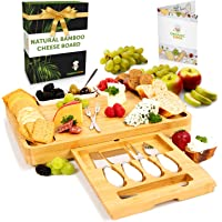 Bamboo Cheese Board and Knife Set with drawer, Charcuterie Board Set Large (15 x 12 inch) includes Ceramic Bowls…