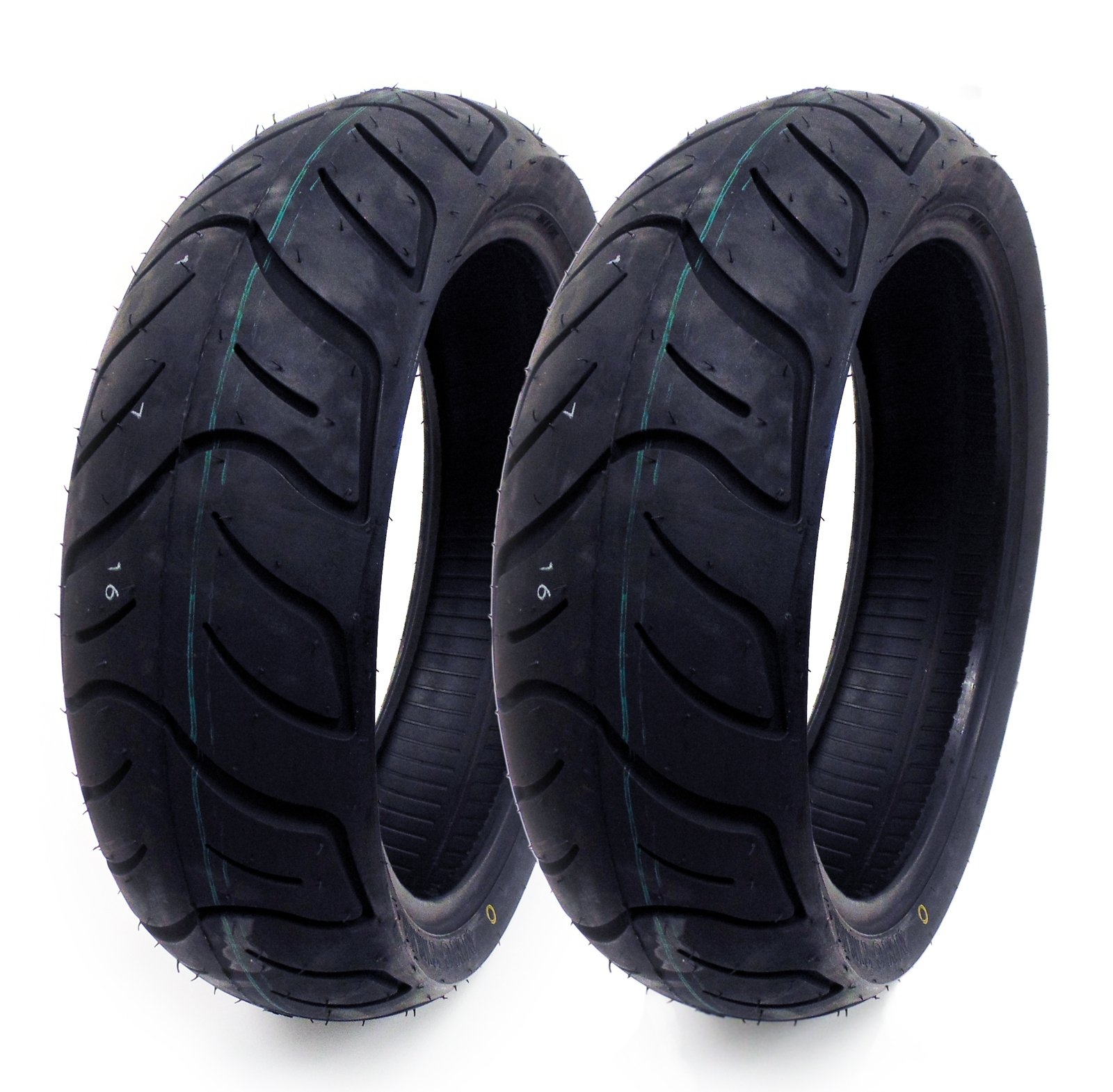 MMG Set of 2 Tires 130/60-13 Tubeless Front or Rear Motorcycle Scooter Moped by MMG