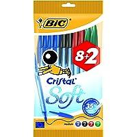 BIC Cristal Soft bolígrafos punta media (1,2 mm) - colores Surtidos, Blíster de 8+2