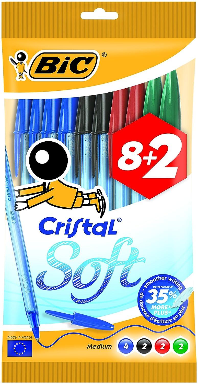 BIC Cristal Original Soft –  Borsa di 10 penne, Multicolore 918534