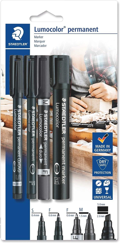 Staedtler Lumocolor permanent 60 BK Juego de rotuladores permanentes con diferentes puntas, 4 unidades en blíster