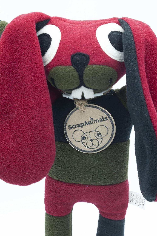 Plushie Stuffed animal Bunny Black//Forest//Red Handmade Bunny ScrapAnimal