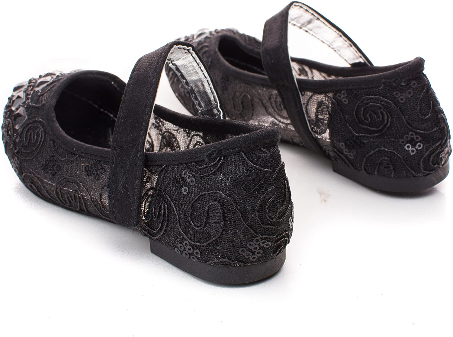 Childrens Girl Rhinestone /& Sequins Embroidered Mary Jane Flats