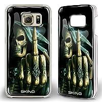 Skino 3D Smart Gel Skull Schädel Mittelfinger Totenkopf Design Case Hands Free Selfie Handy Hülle für Samsung Galaxy SK 10 (Samsung Galaxy S7)