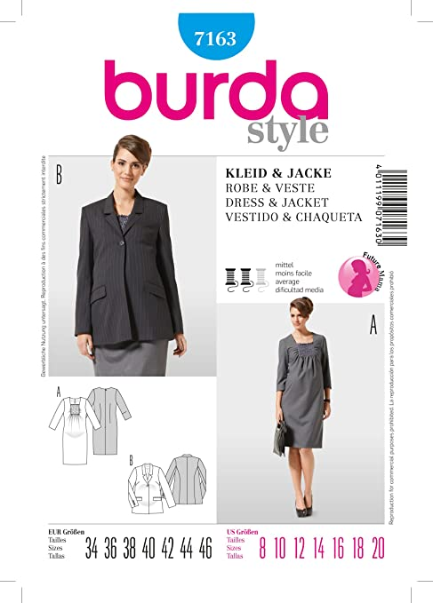 Burda 7163 premamá Smokeinsatz con patrón de costura para vestido de ...