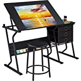 YAHEETECH Adjustable Drafting Table Drawing/Draft/Art/Craft Table/Desk with Stool and Storage Drawers Art Studio Design Work
