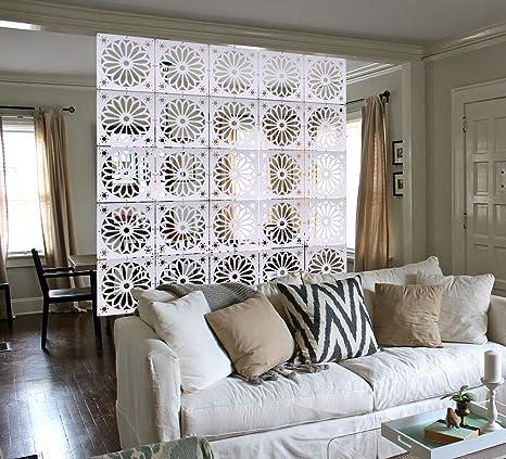 MYEUSSN Raumteiler Paravent Weiß Elegant DIY Paravents Raumtrenner  Sichtschutz Umweltfreundlichem PVC Holz-Plastik Trennwand Home Dekoration  für ...