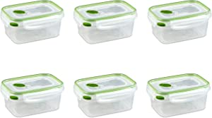 Sterilite 03121606 Ultra Seal 4.5-Cup Rectangle See-Through Lid and Bases with New Leaf Accents, 6-Pack