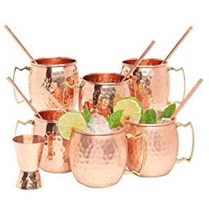 Kitchen Science Moscow Mule Copper Mugs 16 Ounce with 6 Straws and Jigger Set