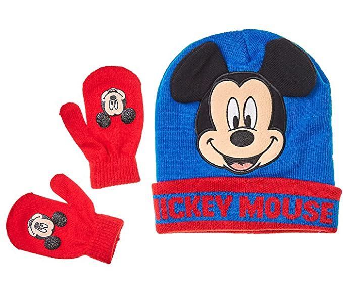 Amazon.com  Mickey Mouse Little Toddler Boys Winter Hat   Mitten Set ... 748182b35d0