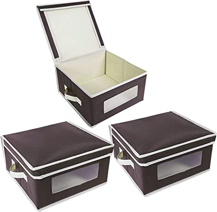 Foldable Fabric Storage Bins - Organization Storage Cube Boxes with Clear Windows u0026 Lids - for  sc 1 st  Amazon.com & Amazon.com: Foldable Fabric Storage Bins - Organization Storage Cube ...