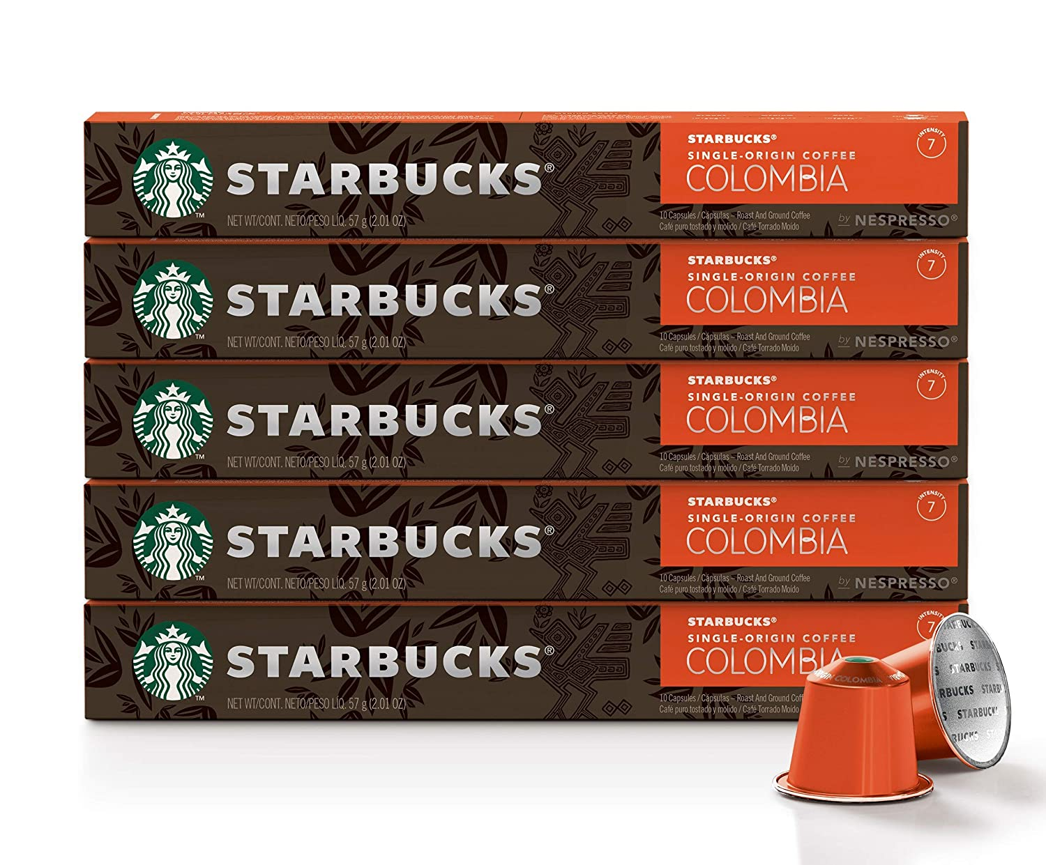 Starbucks by Nespresso, Single-Origin Colombia (50-count single serve capsules, compatible with Nespresso Original Line System)