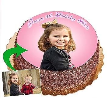 d4ef265162edb Disque Sucre Gateau Anniversaire Fille ou garçon - Rond 20 cm - Décoration  Photo - Votre Photo Comestible avec ...