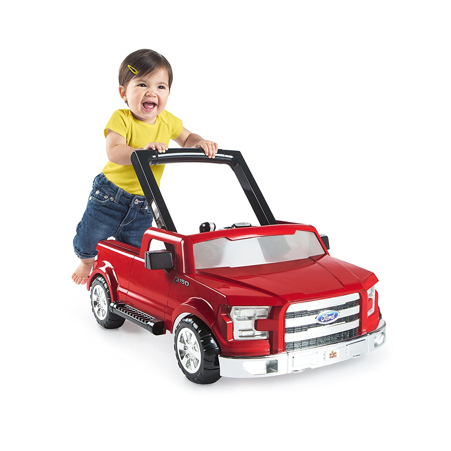 Bright Starts 3 Ways To Play 3-in-1 Activity Baby Walker Car for Boys, Ford F 150 in Red with Hypoallergenic Baby Wipes Red