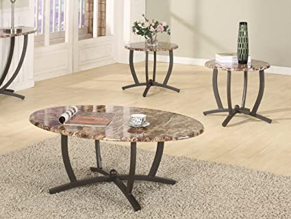 GTU Furniture 3Pc Oval Faux Marble Top Living Room Metal Coffee Table Set,  One Coffee Table with Two End Tables by GTU Furniture