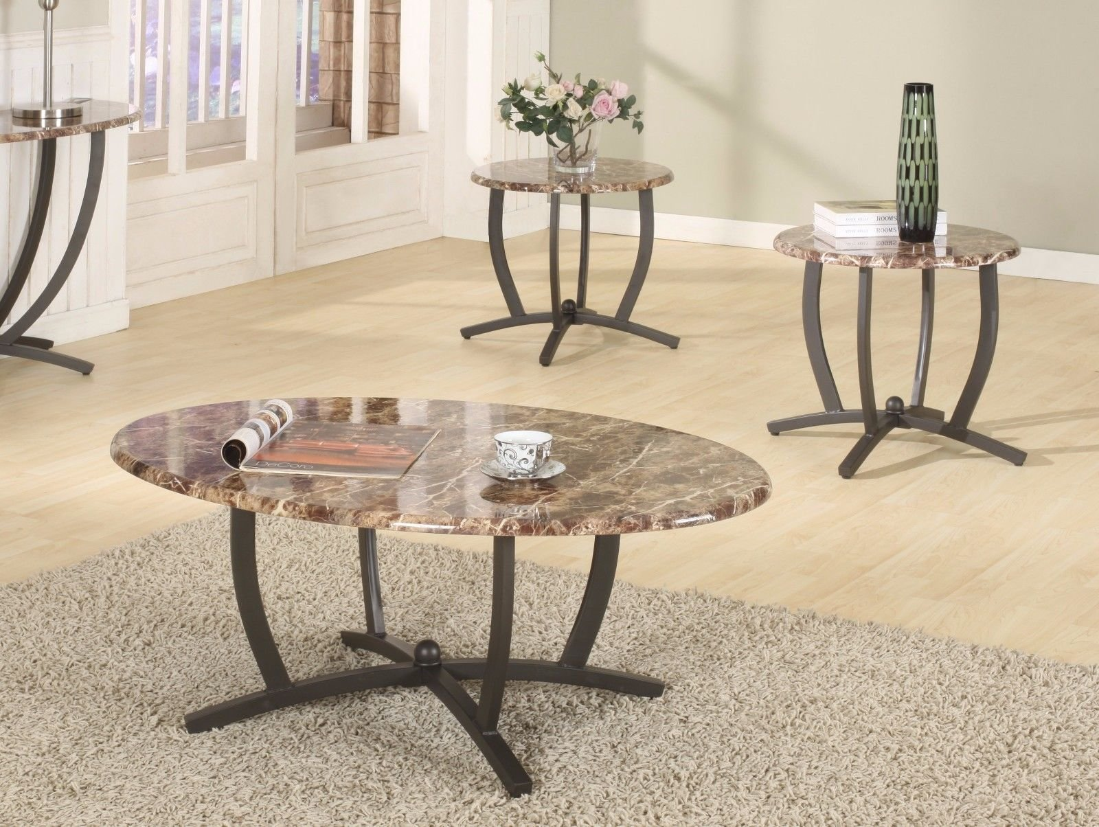 GTU Furniture 3Pc Oval Faux Marble Top Living Room Metal Coffee Table Set, One Coffee Table with Two End Tables