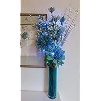 Flores de Magnolia azul, 2cabezales, 1Bud flores artificiales.