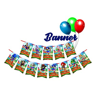 13 Blue Hedgehog Birthday Party Rectangle Flags for Banners #1: Kitchen & Dining