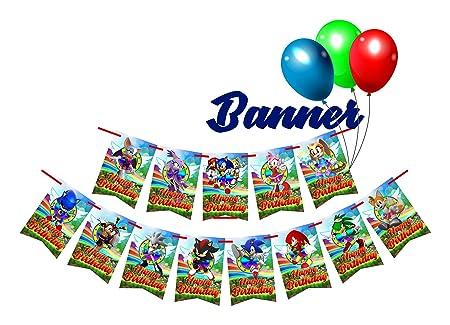 13 Banderas rectangulares para fiesta de cumpleaños de Sonic ...