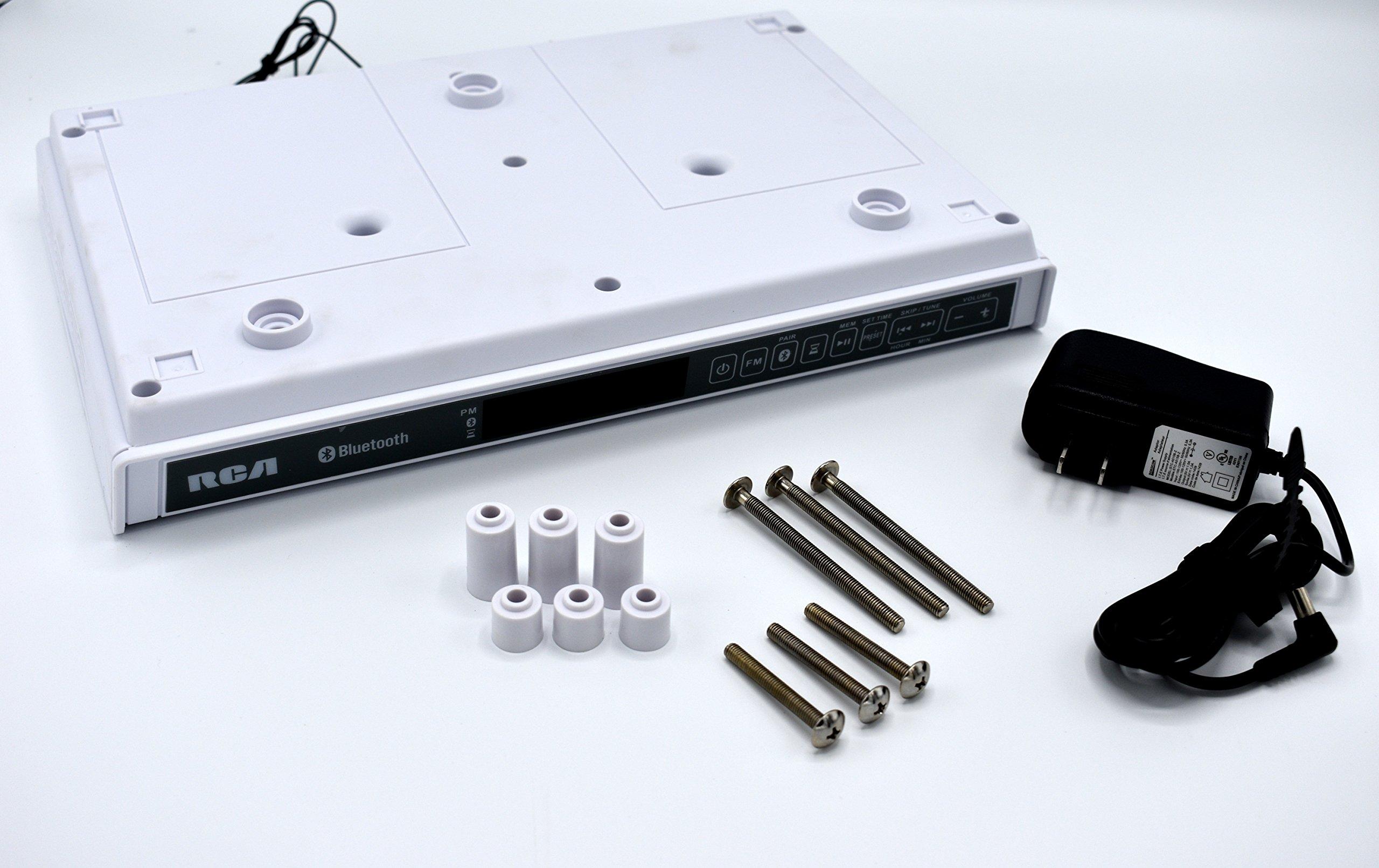 RCA SPS3688B Under Cabinet Wireless Speaker with FM Radio, White
