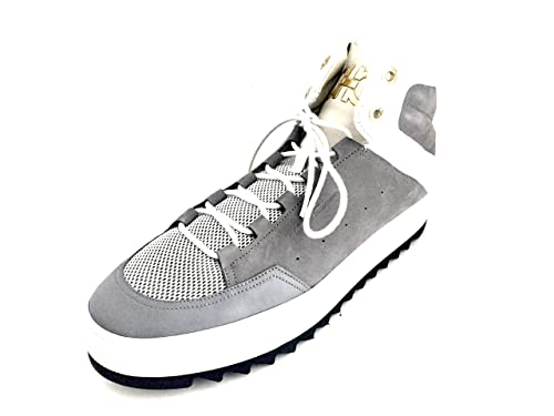 Laramie Mens Grey Leather High Tops Shoes Made In Italy