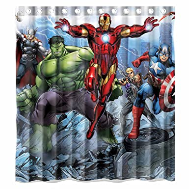 Custom Avengers Movie Incredible Hulk And Iron Man Characters Waterproof Bathroom Shower Curtain Polyester Fabric