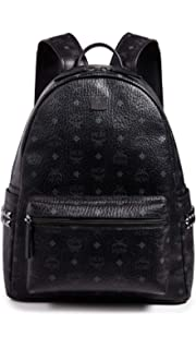 MCM Mens Stark Medium Side Stud Backpack, Black, One Size