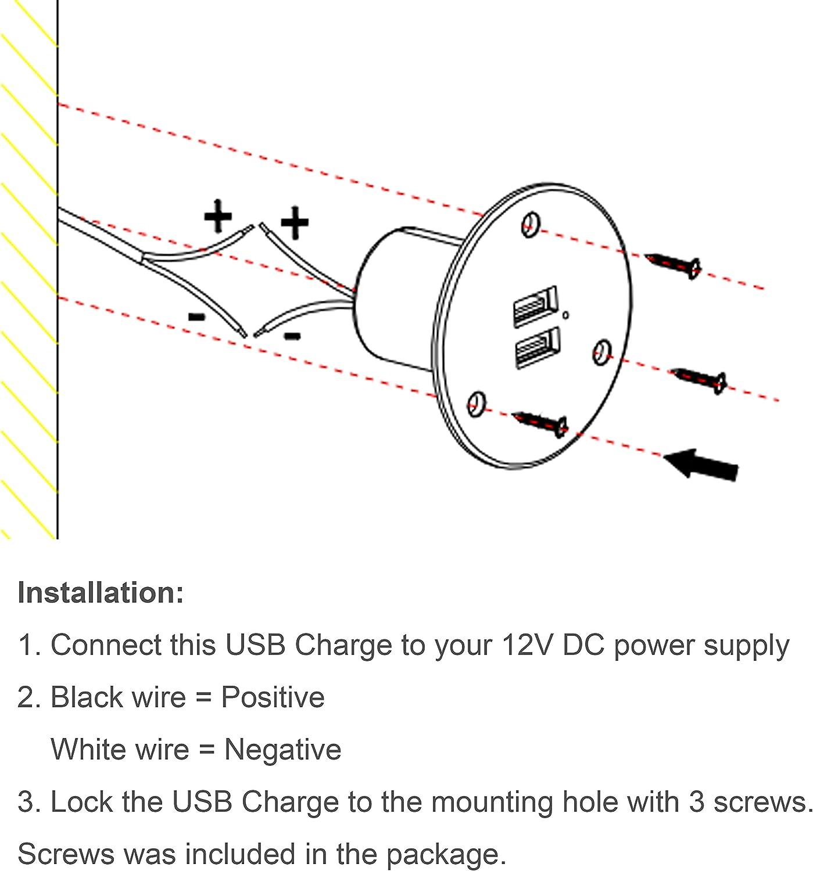 Steckdose 5V 2.4A f/ür Wohnmobilanh/änger Camper Boat Marine Motorhome Facon USB-Ladebuchse Power Einbauhalterung mit gr/üner Kontrollleuchte