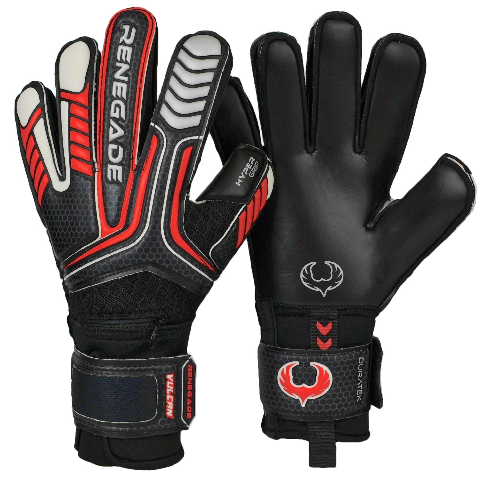 Renegade GK Vulcan Raze Flat Cut Level 3 Outdoor/Indoor Goalie Gloves for Kids with Fingersaves (Size 6) - Kids Soccer Goalie Gloves Youth - Girls & Boys Soccer Gloves Kids - Black & Red