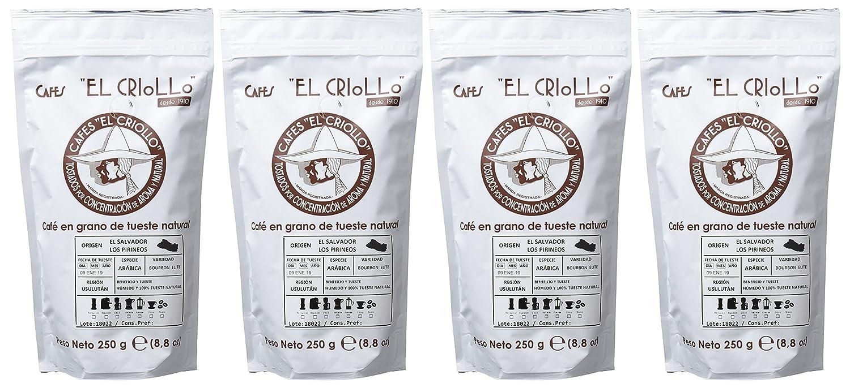 Cafés El Criollo Café en Grano El Salvador Los Pirineos - Paquete de 4 x 250 gr - Total: 1000 gr: Amazon.es: Alimentación y bebidas
