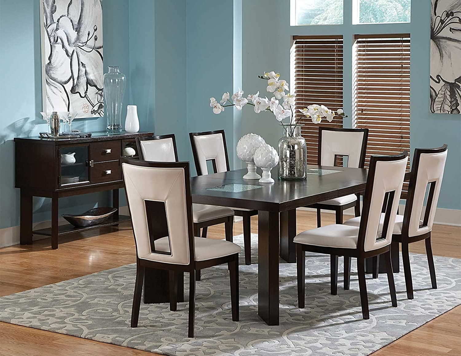 Steve Silver Delano Table w 18 in. Leaf Cracked Glass Insets in Espresso