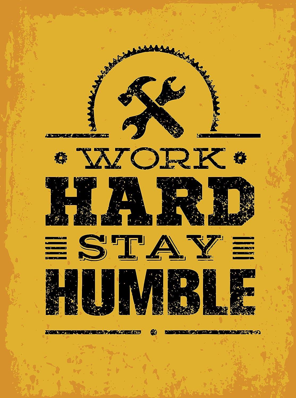 "Inspirational Quote Word Art Splatter Paint -Work Hard Stay Humble Vinyl Sticker (2"" Tall)"