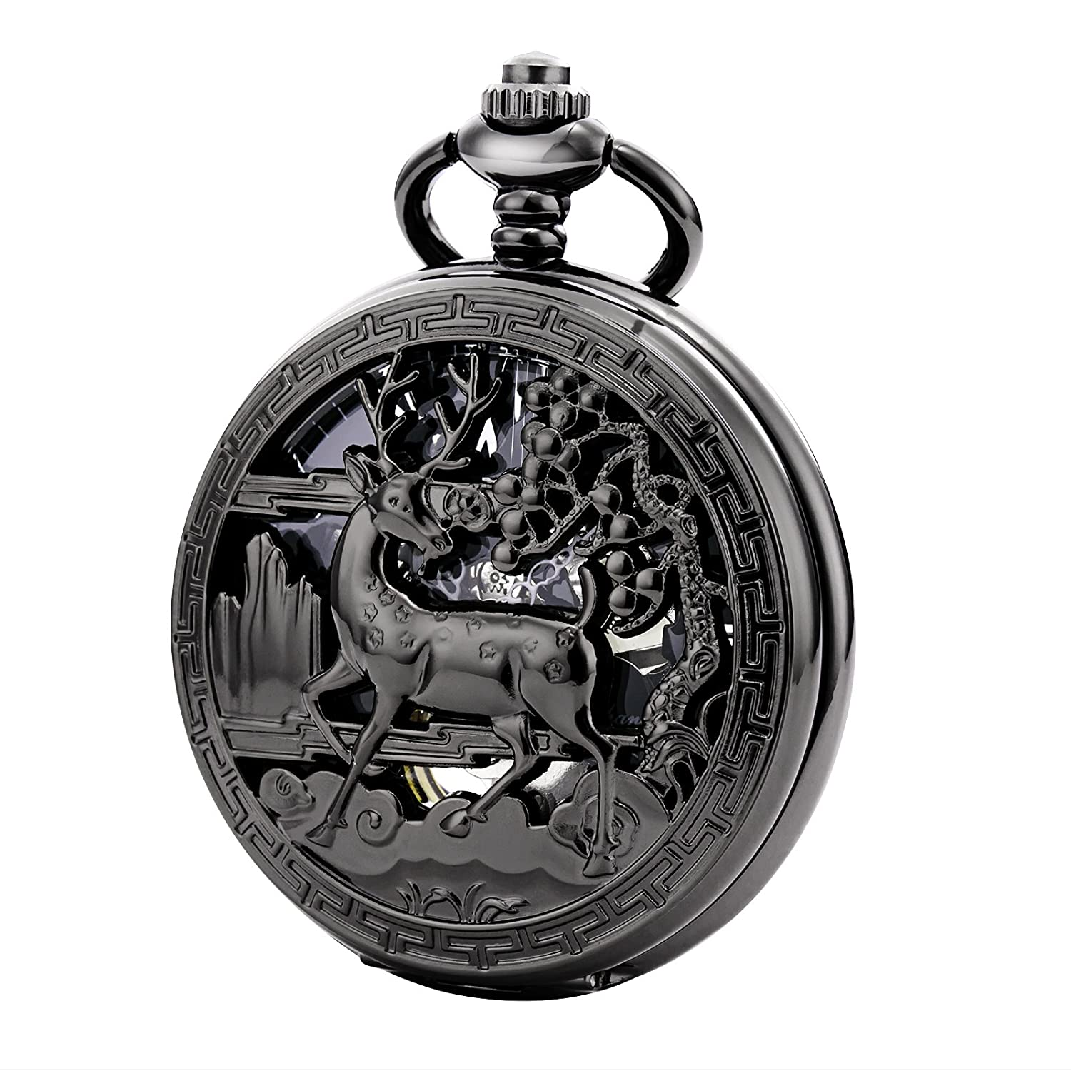 TREEWETO Vintage Pocket Watch Mechanical Double Cover Hollow Case Skeleton Steampunk Deer Case Men Women, Black