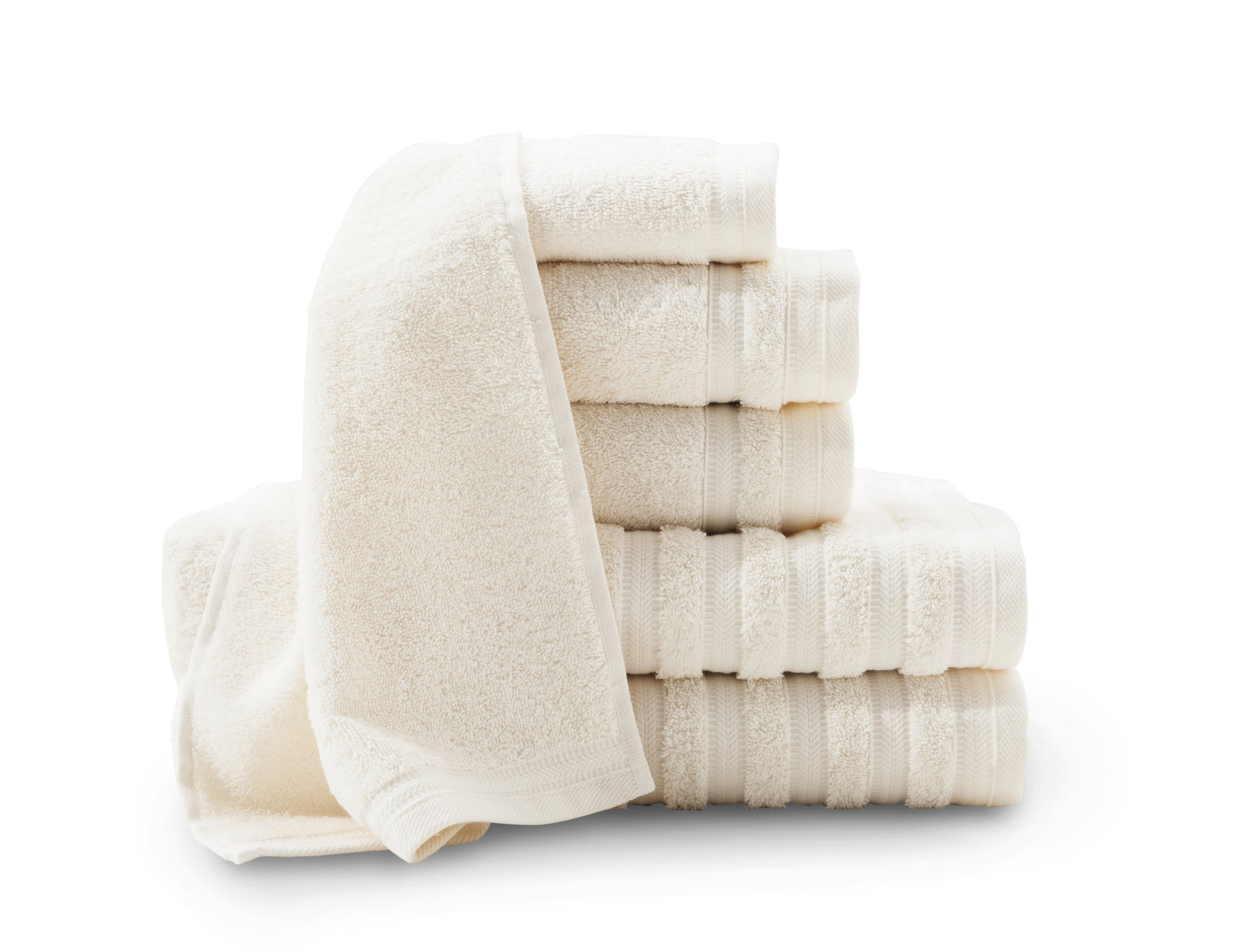 Baltic Linen Company Pure Elegance 100-Percent Turkish Cotton 6-Piece Luxury Towel Set, Rich Cream