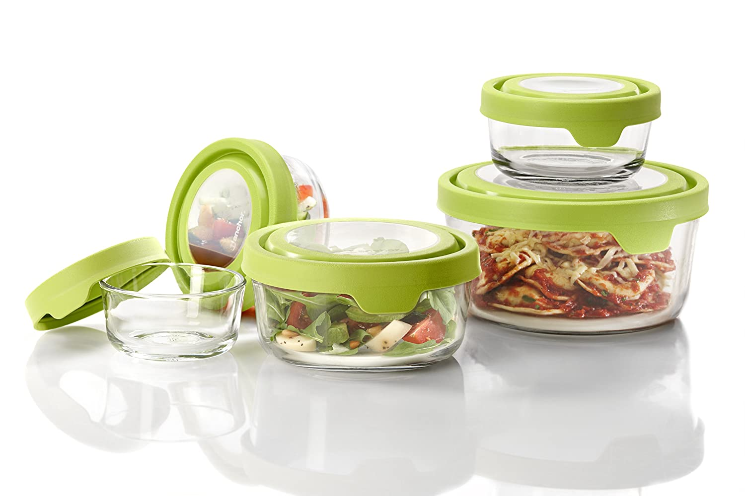 Anchor Hocking TrueSeal Glass Food Storage Containers with Lids, Green, 10-Piece Set