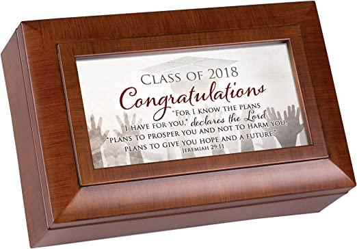 Plays Song Pomp and Circumstance Cottage Garden Congrats Graduate Wood Grain Finish Jewelry Music Box