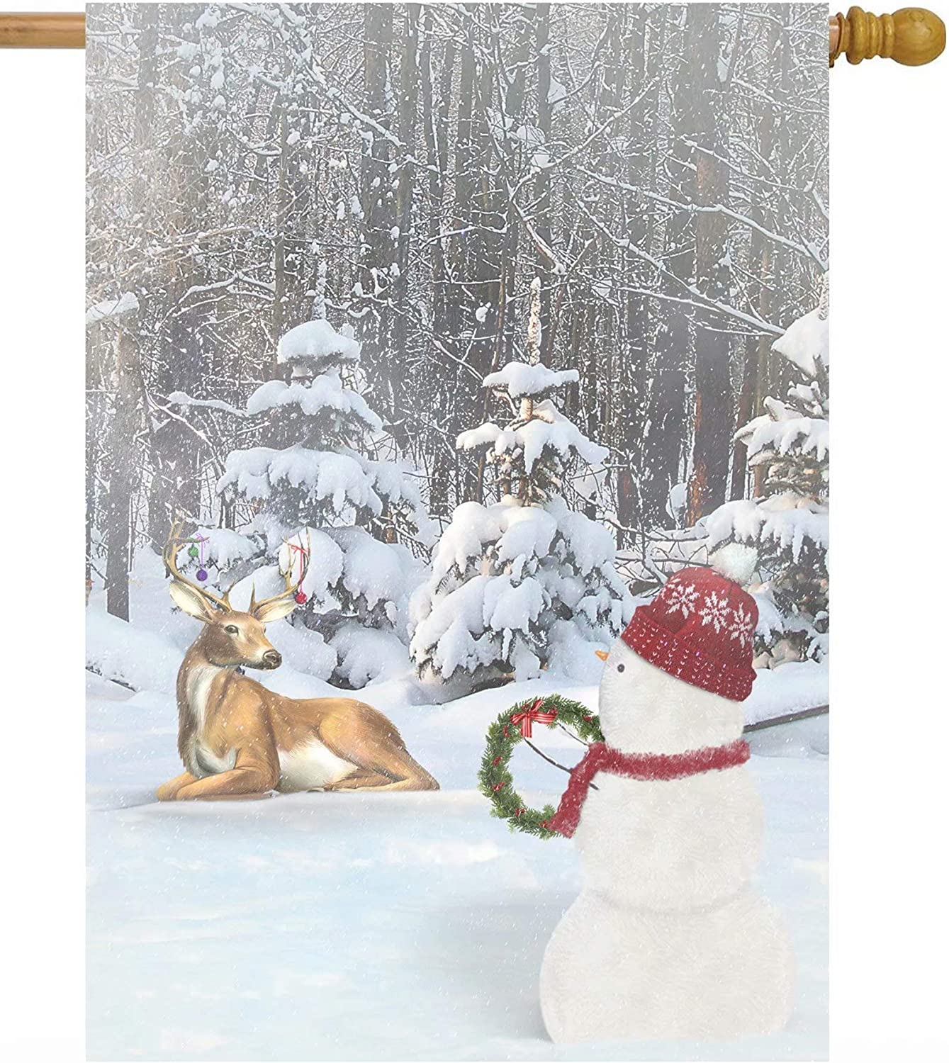 "ShineSnow Christmas Winter Snowman and Deer with Ornaments in Snow Forest House Flag 28"" x 40"" Double Sided Polyester Welcome Large Yard Garden Flag Banners for Patio Lawn Home Outdoor Decor"