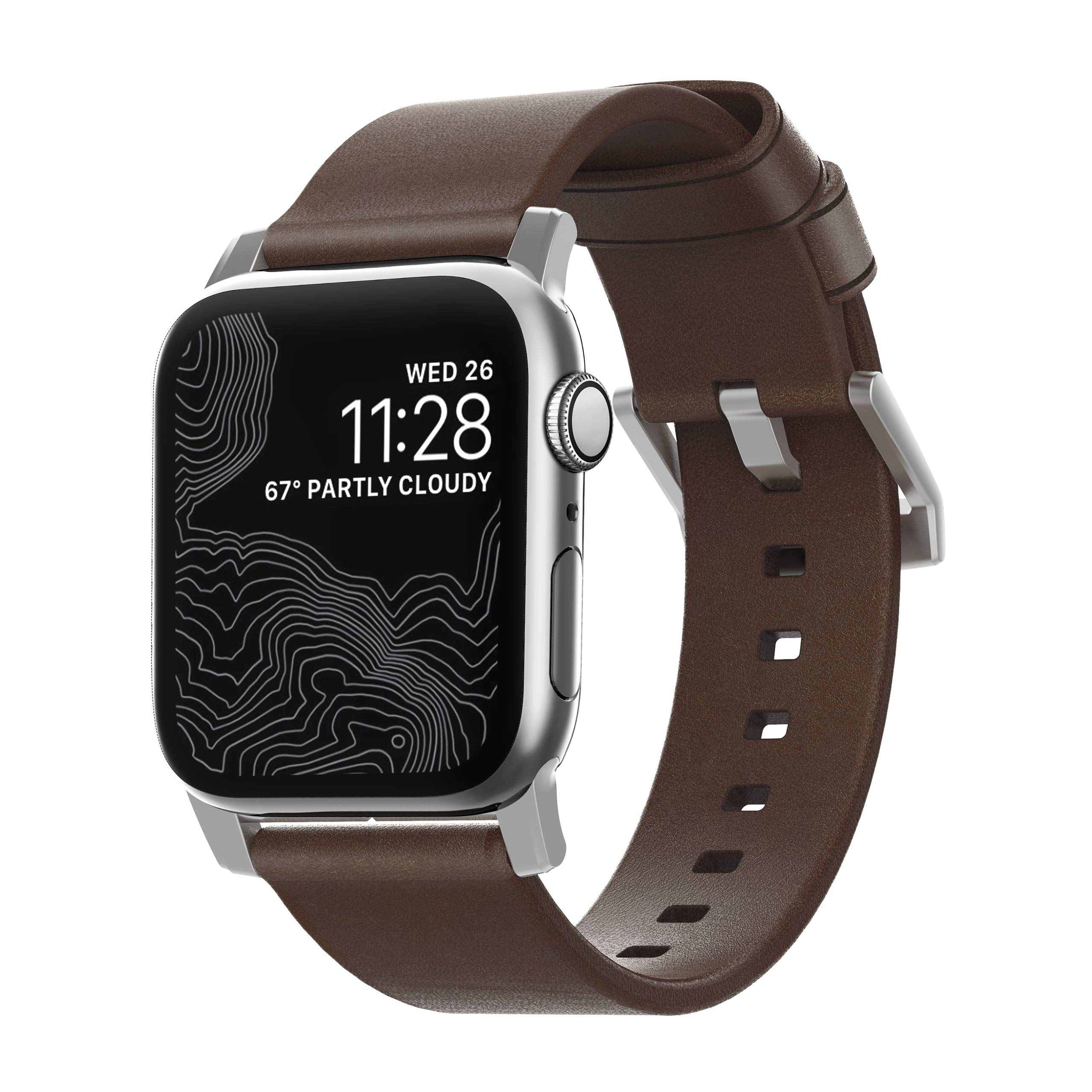 Nomad Modern Strap for Apple Watch 44mm/42mm | Rustic Brown Horween Leather | Silver Hardware by Nomad