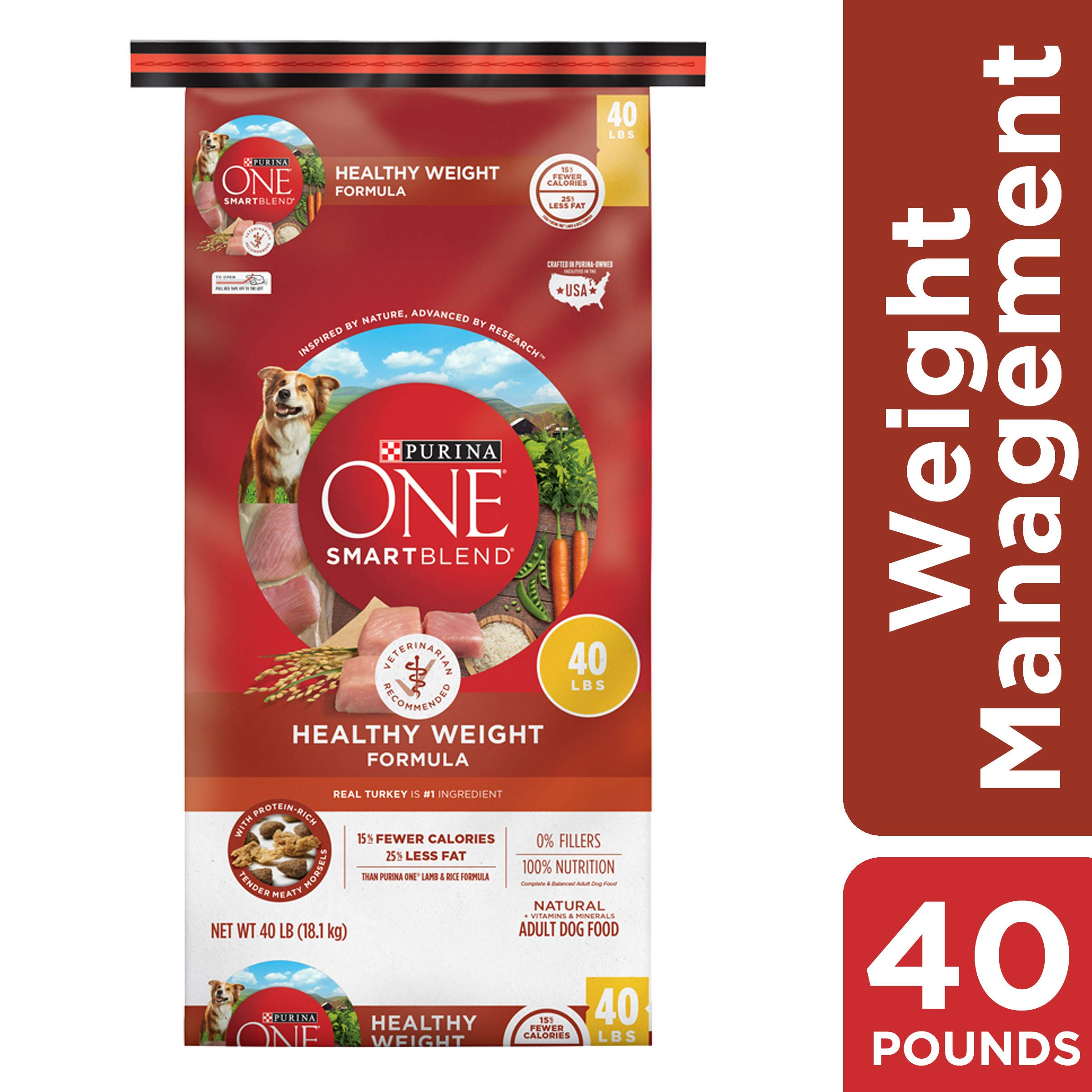 Purina ONE Weight Management, Natural Dry Dog Food, SmartBlend Healthy Weight Formula - 40 lb. Bag by Purina ONE