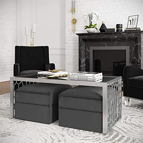 CosmoLiving by Cosmopolitan CosmoLiving Juliette Two Ottomans Coffee Table Set, Black Silver