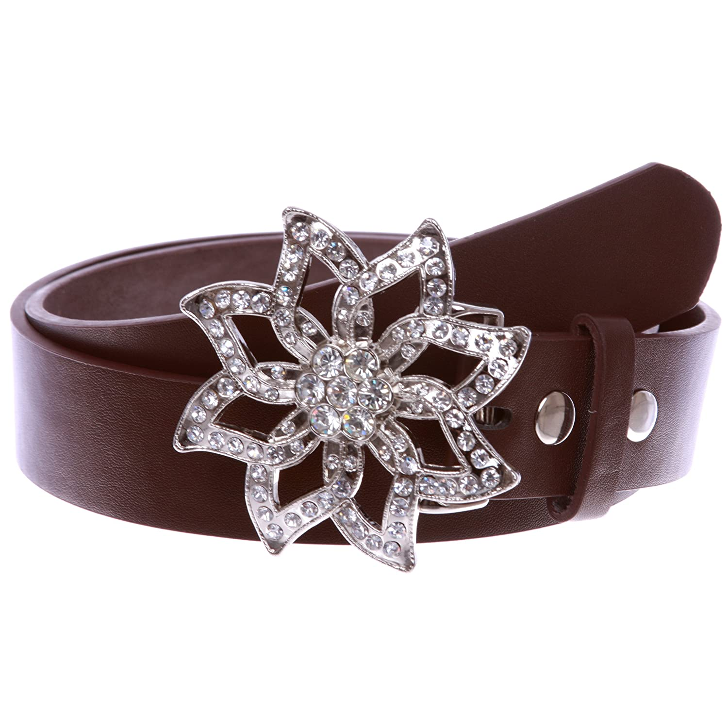 Womens Snap On Rhinestone Floral Fashion Belt Multi-Color Options