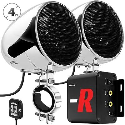 "GoHawk TN4-R Amplifier 4"" Full Range Waterproof Bluetooth Motorcycle Stereo Speakers 1 to 1.5 in. Handlebar Mount Audio Amp System Harley Touring Cruiser ATV UTV RZR, AUX, FM Radio (TN4-R Chrome): Electronics"