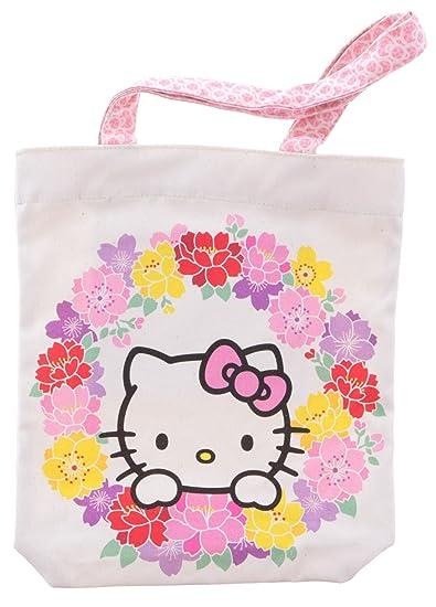 49db07aaf25a Amazon.com  Hello Kitty Goshiki Hanpudo Cotton Canvas Tote Bag Flower  Circle Design  Beauty