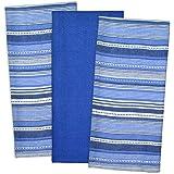 "DII 100% Cotton, Machine Washable, Pre Shrunk, Everday Kitchen Basic, Designer Inspired, Ultra Absorbent, 20x30"" Urban Stripe Dishtowel Set of 3, Nautical Blue"