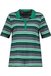 Ulla Popken Damen Streifen, Pima Cotton, Classic Poloshirt